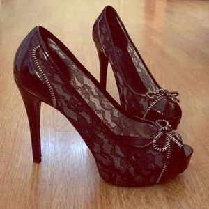 Lace and Patent Leather Peep Toe Stilettos